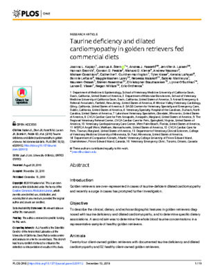 Taurine deficiency and dilated cardiomyopathy in golden retrievers fed commercial diets