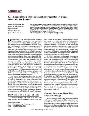 Diet-associated dilated cardiomyopathy in dogs: what do we know?