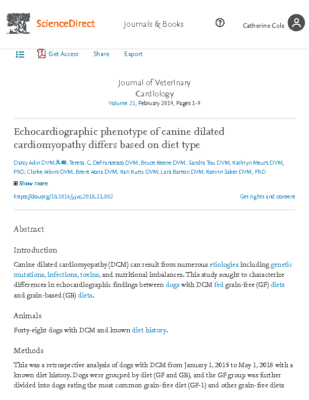 Echocardiographic phenotype of canine dilated cardiomyopathy differs based on diet type – ScienceDir