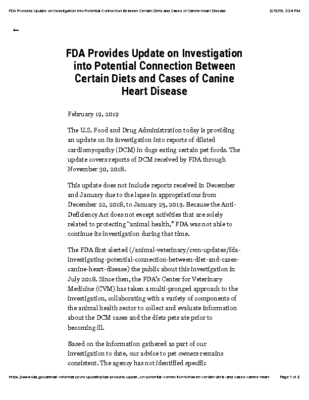 FDA Provides Update on Investigation into Potential Connection Between Certain Diets and Cases of Canine Heart Disease