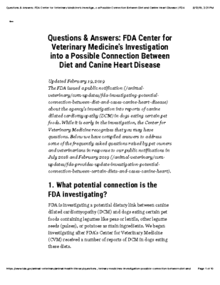 Questions & Answers: FDA Center for Veterinary Medicine's Investigation into a Possible Connection Between Diet and Canine Heart Disease | FDA