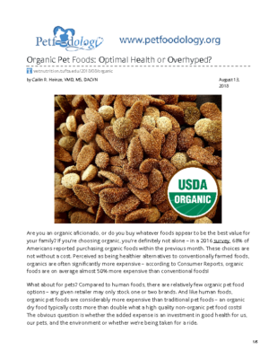 vetnutrition.tufts.edu-Organic Pet Foods Optimal Health or Overhyped